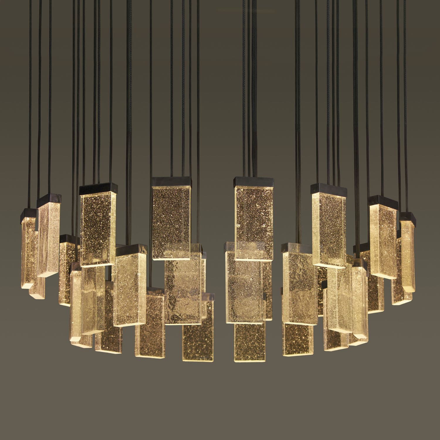 Image of: Contemporary Chandelier 32 Grand Cru Massifcentral Glass Aluminum Led