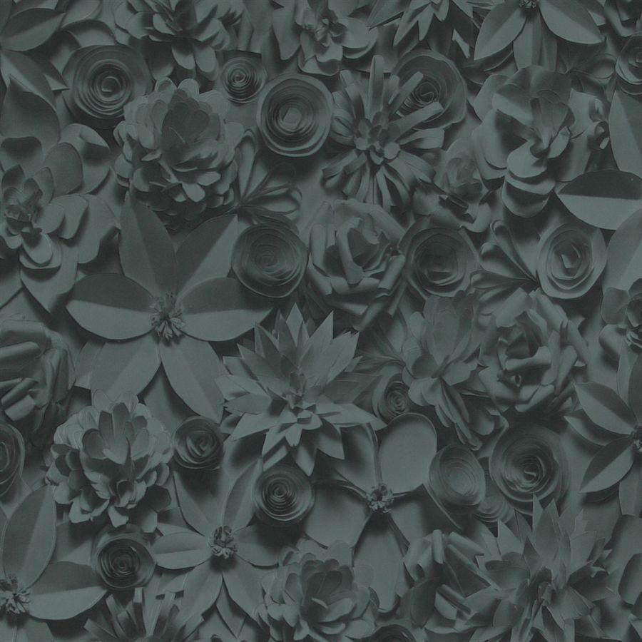 Contemporary Wallpaper Fabric Floral 3d Effect Black R2910