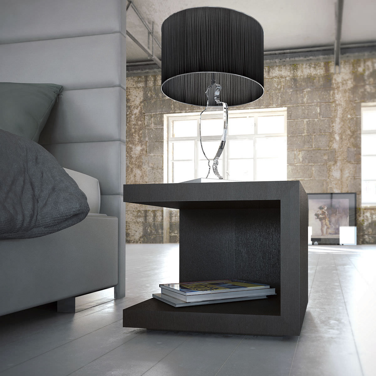Image of: Contemporary Bedside Table Ludlow Modloft Wooden Rectangular