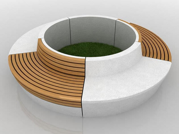 Awe Inspiring Public Bench Contemporary Wooden Concrete Line Round Cjindustries Chair Design For Home Cjindustriesco