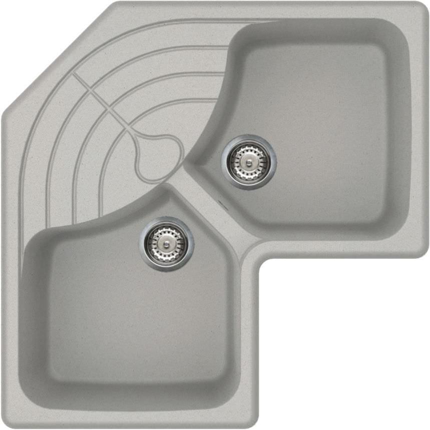 Double Kitchen Sink Master Elleci Composite Overmount Corner