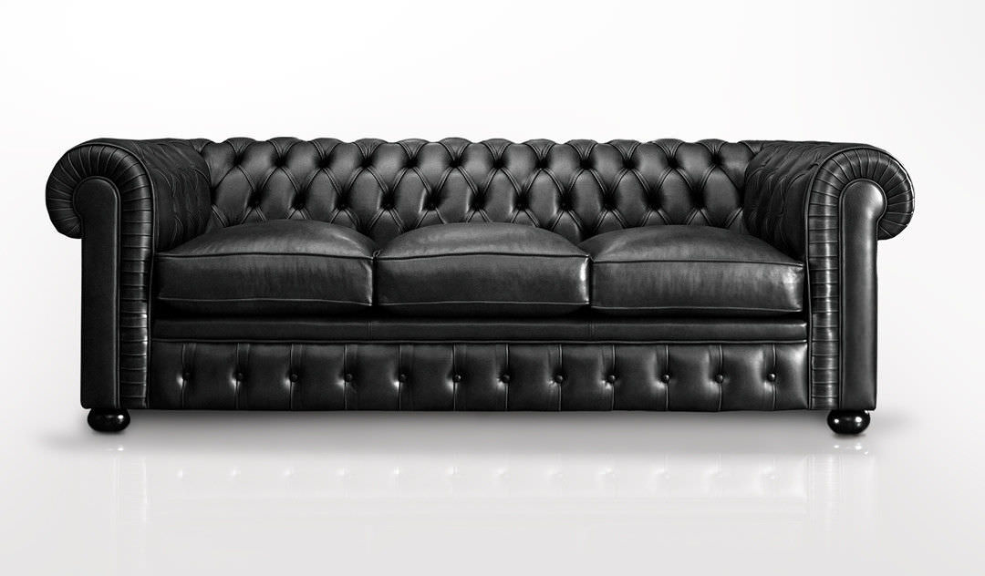 Chesterfield sofa / leather / 3-seater / black - B&V