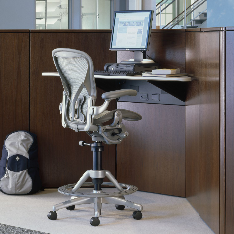 Contemporary task stool - AERON - Herman Miller Europe - fabric