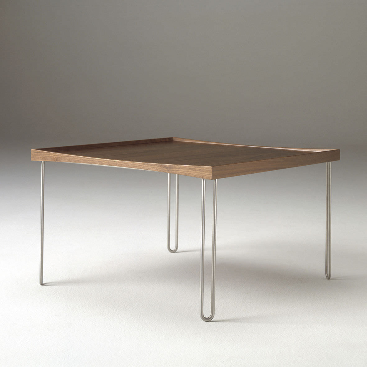 Scandinavian Design Coffee Table Solid Wood Laminate Brushed Stainless Steel