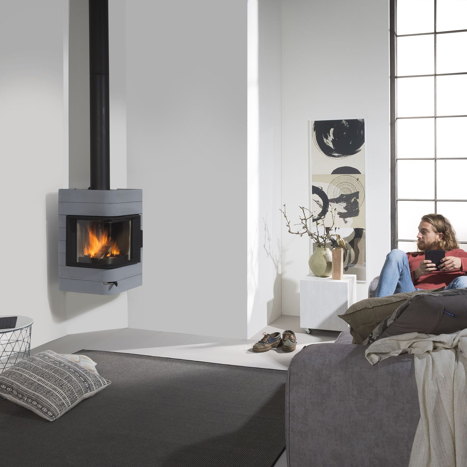 Wood heating stove / contemporary / steel / concrete