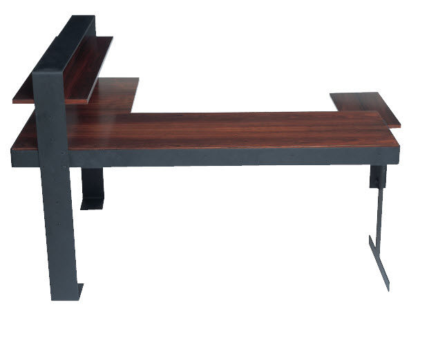 Wooden Desk Metal Art Deco Commercial L