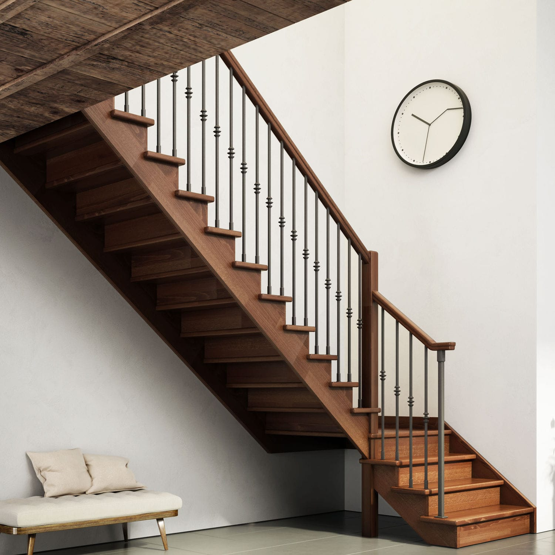 Quarter-turn staircase / half-turn / wooden frame / wooden steps