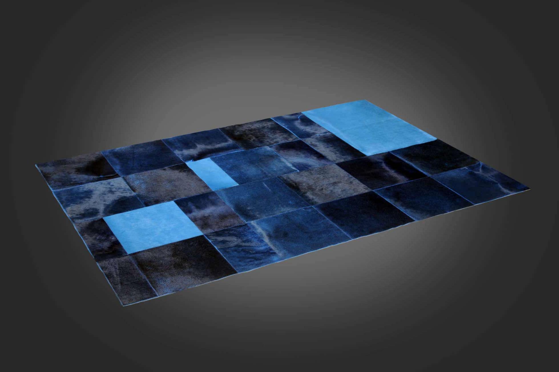 Contemporary Rug Patchwork Cowhide Rectangular Grand Bleu
