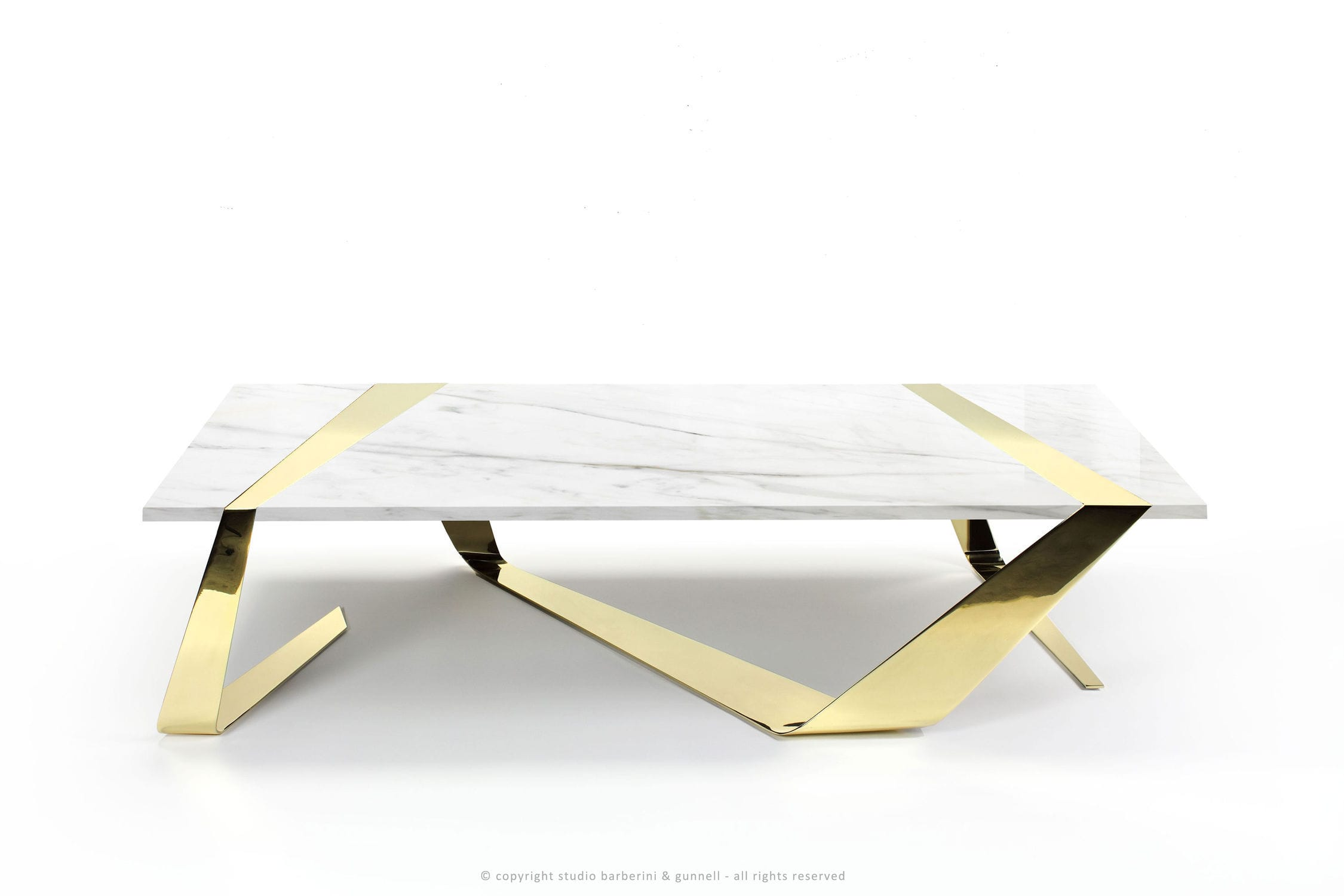 Original Design Coffee Table Polished Brass Marble