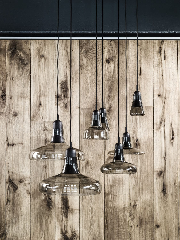 Dan Yeffet & Lucie Koldova pendant lamp / contemporary / wooden / blown glass