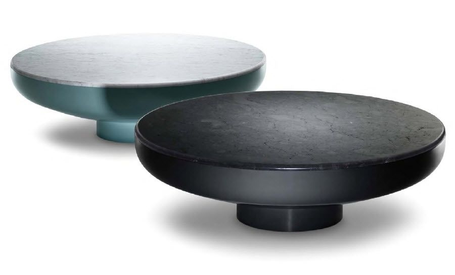 Contemporary Coffee Table Tambor Se London Marble Lacquered Steel Round