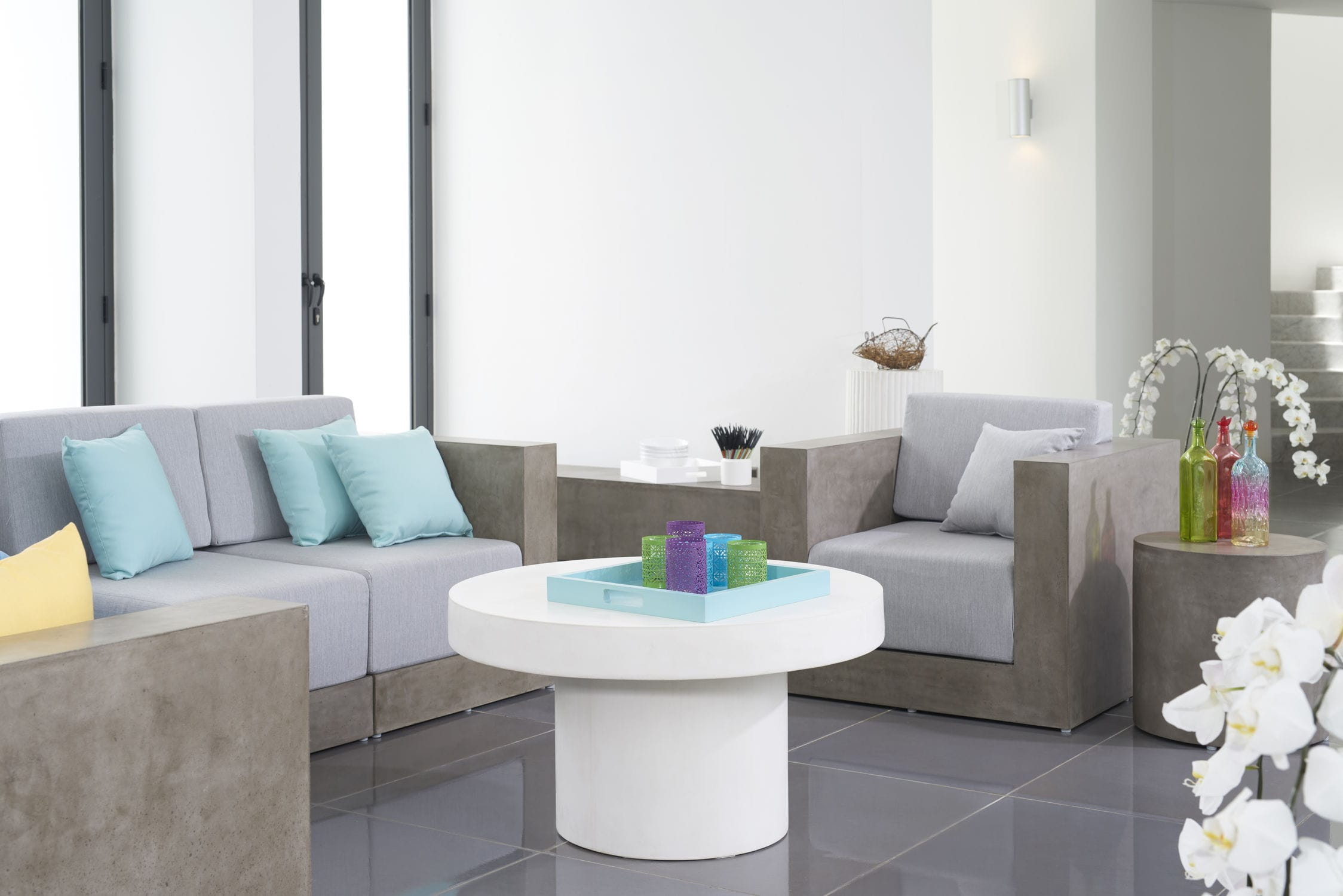 Contemporary Coffee Table.Contemporary Coffee Table Concrete Round Outdoor