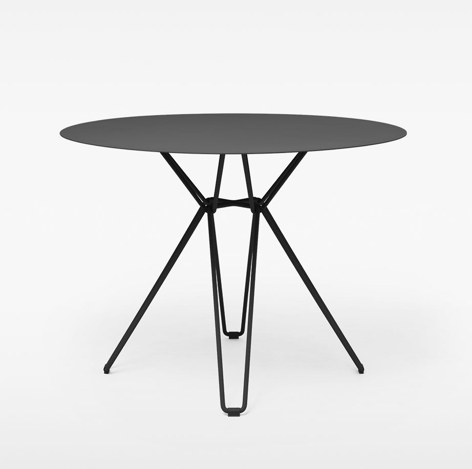 Contemporary Dining Table Galvanized Steel Laminate Round Tio