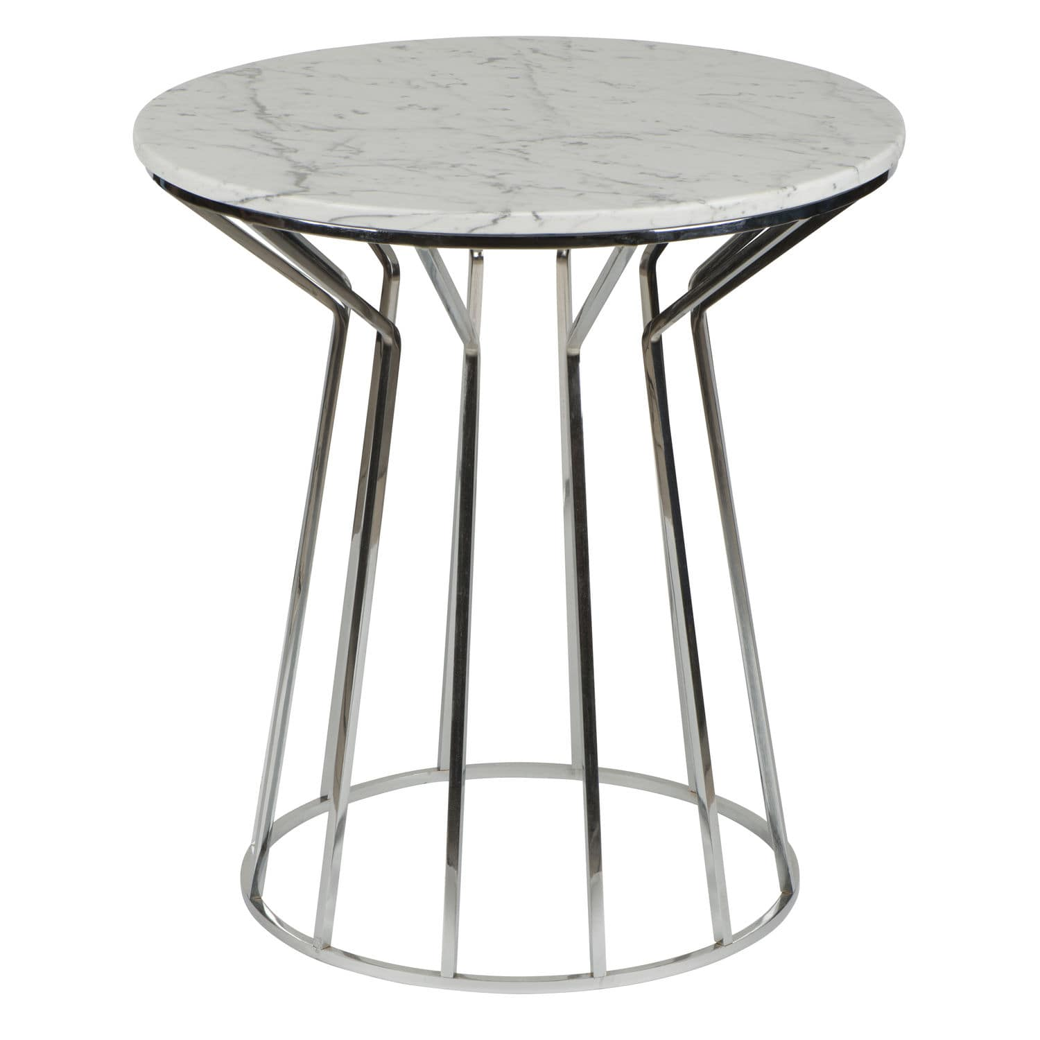 Contemporary Side Table Chrome Marble Round Fernando