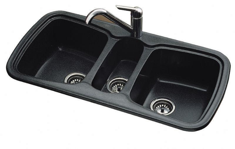 Triple-bowl kitchen sink / composite - ONICE - SANIZEO