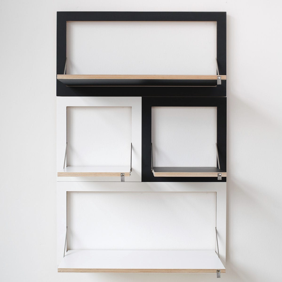 Wall-mounted shelving system / contemporary / wooden / home FLÄPPS  AMBIVALENZ