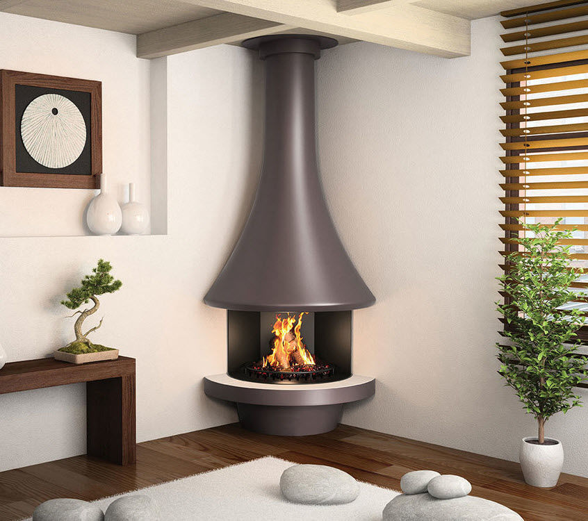 Wood Burning Fireplace Eva 992 Jc Bordelet Contemporary Open Hearth Corner