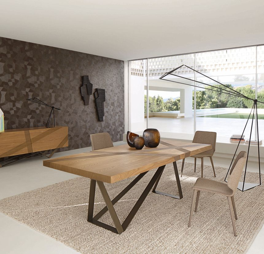 Contemporary Dining Table Oak Mdf Steel Track By Luigi Gorgoni