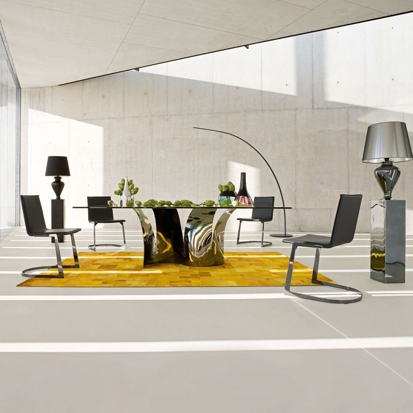 Contemporary Dining Table Tempered Gl Steel Rectangular Voiles By Maurice Barilone