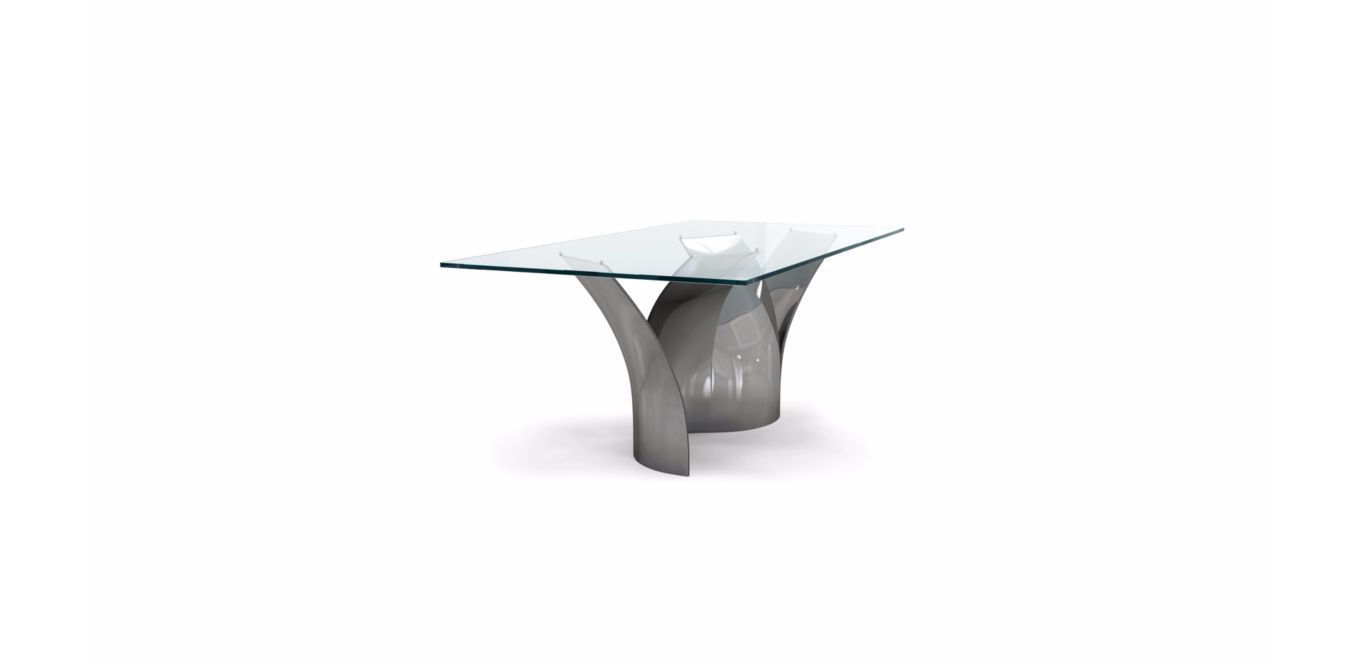Contemporary Dining Table Tempered Gl Steel Rectangular