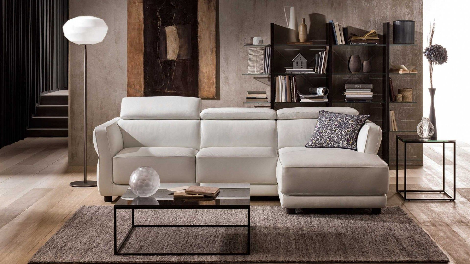 Modular sofa bed contemporary leather NOTTURNO NATUZZI
