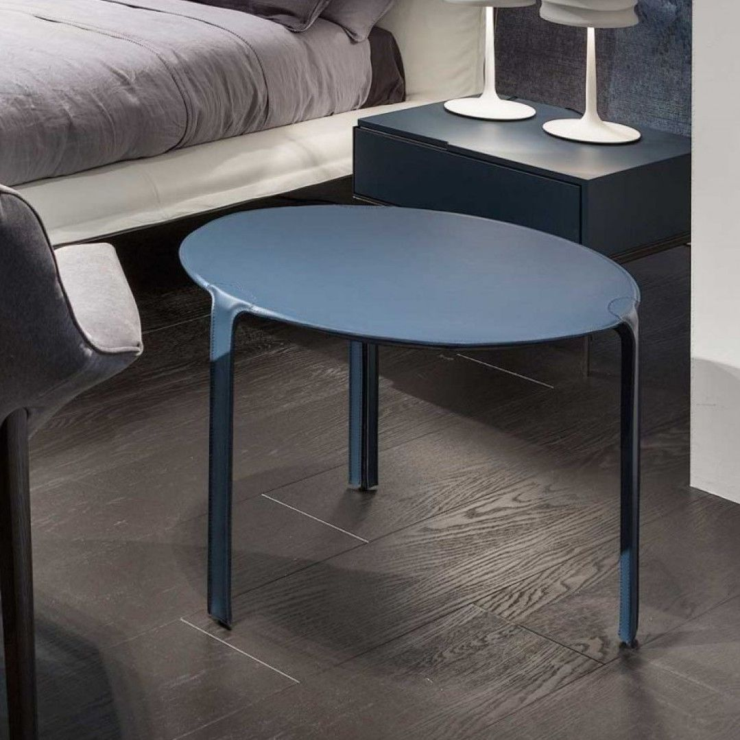 Claudio Bellini Design.Contemporary Side Table Leather Round By Claudio