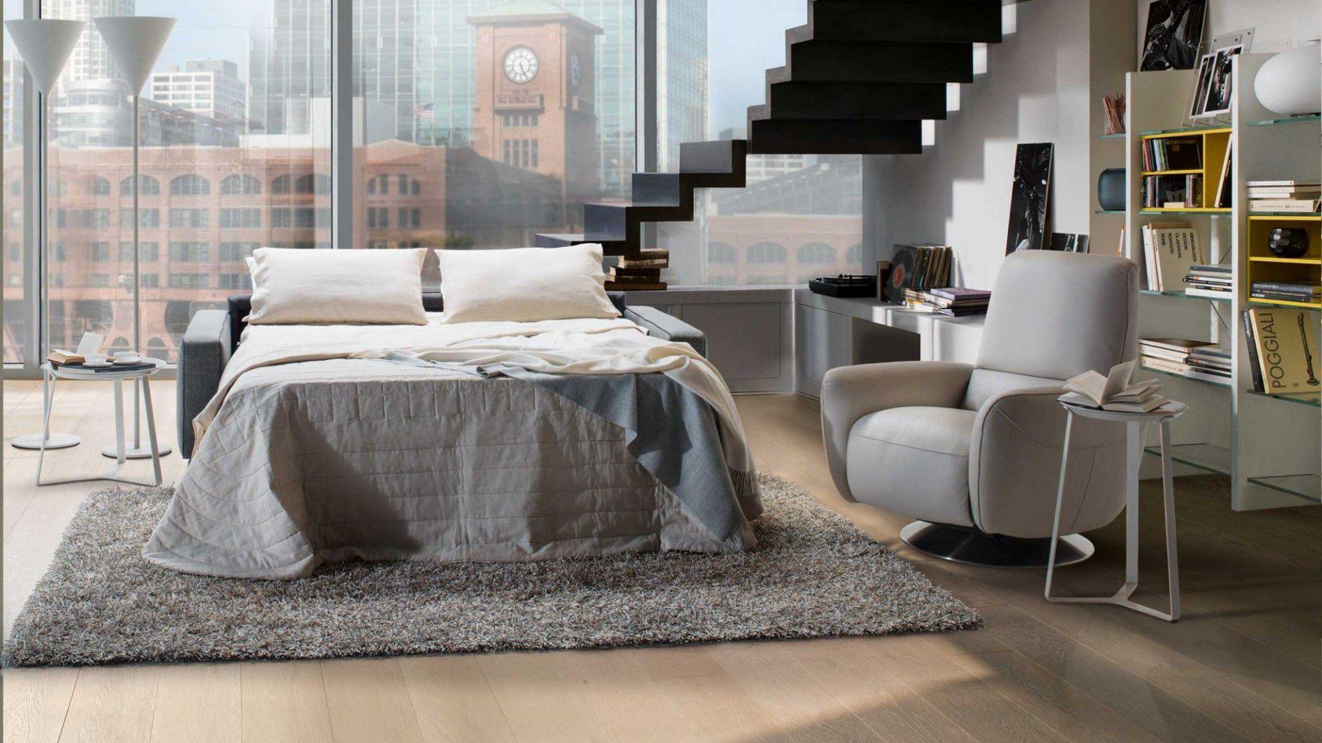 Sofa bed contemporary fabric 2 seater CAPRICCIO NATUZZI