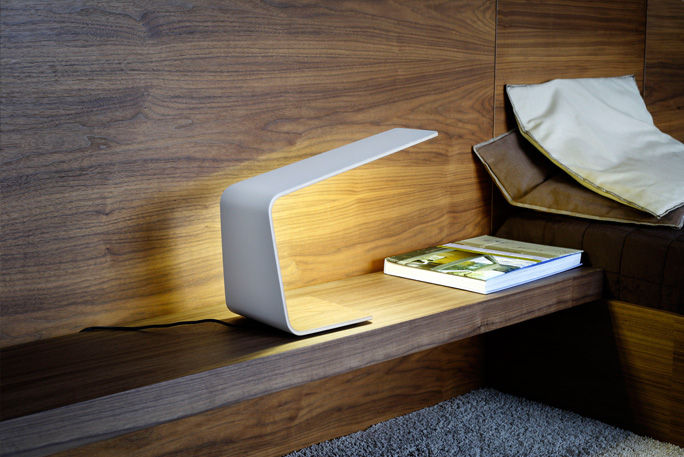Bedside Table Lamp Contemporary Wooden Led 1