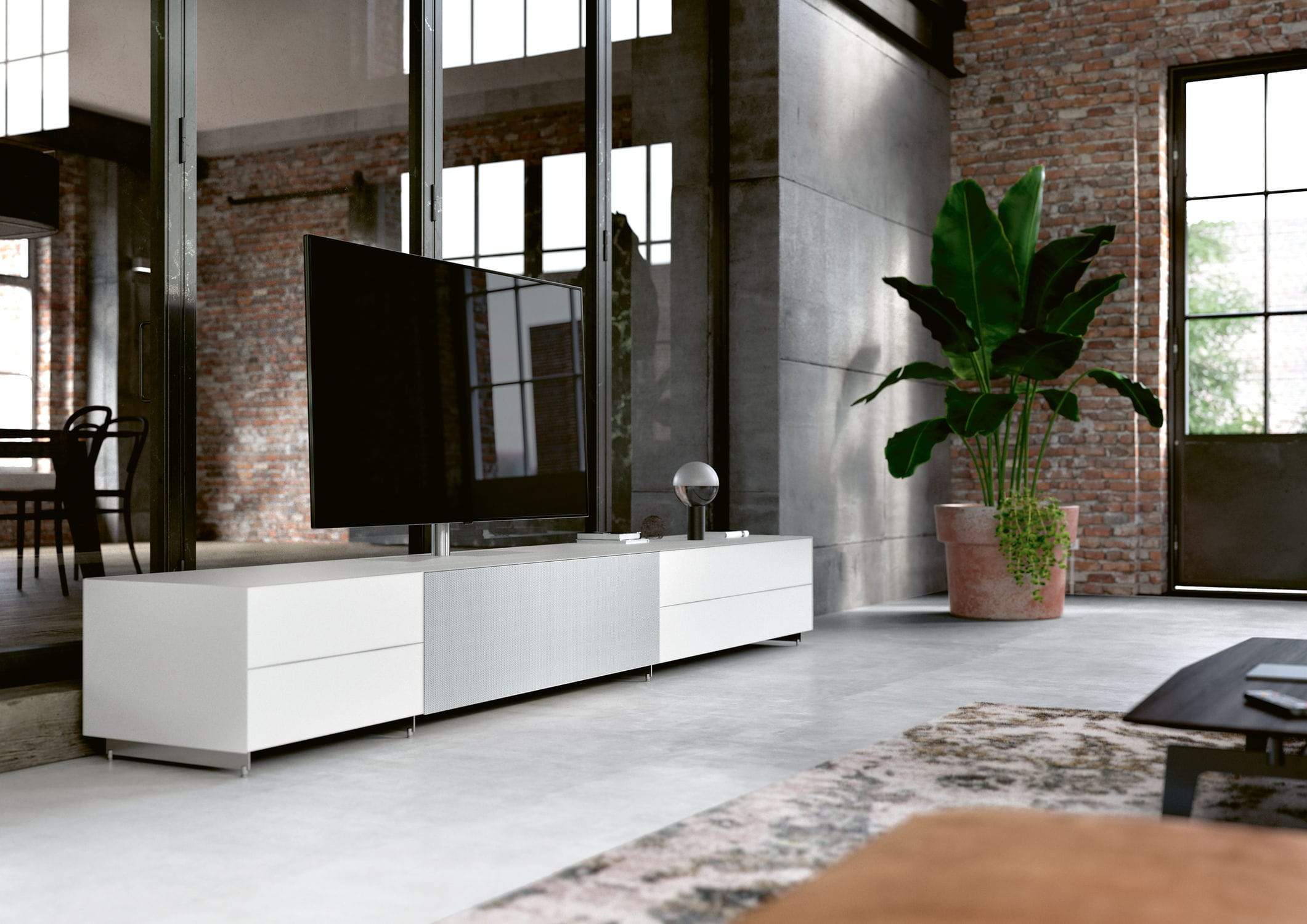 Spectral Porta Tv.Contemporary Tv Cabinet With Integrated Iphone Ipod Docking Station Glass Cocoon Spectral Audio Mobel Gmbh