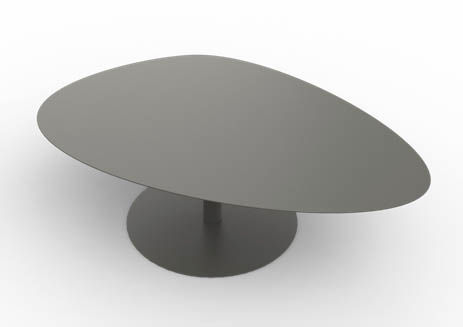 Contemporary Coffee Table Galvanized Steel Oval Garden Xl Stone