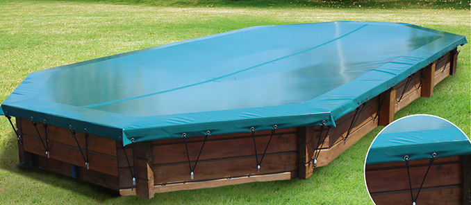 Winter swimming pool cover / grommeted / for above-ground pools ...