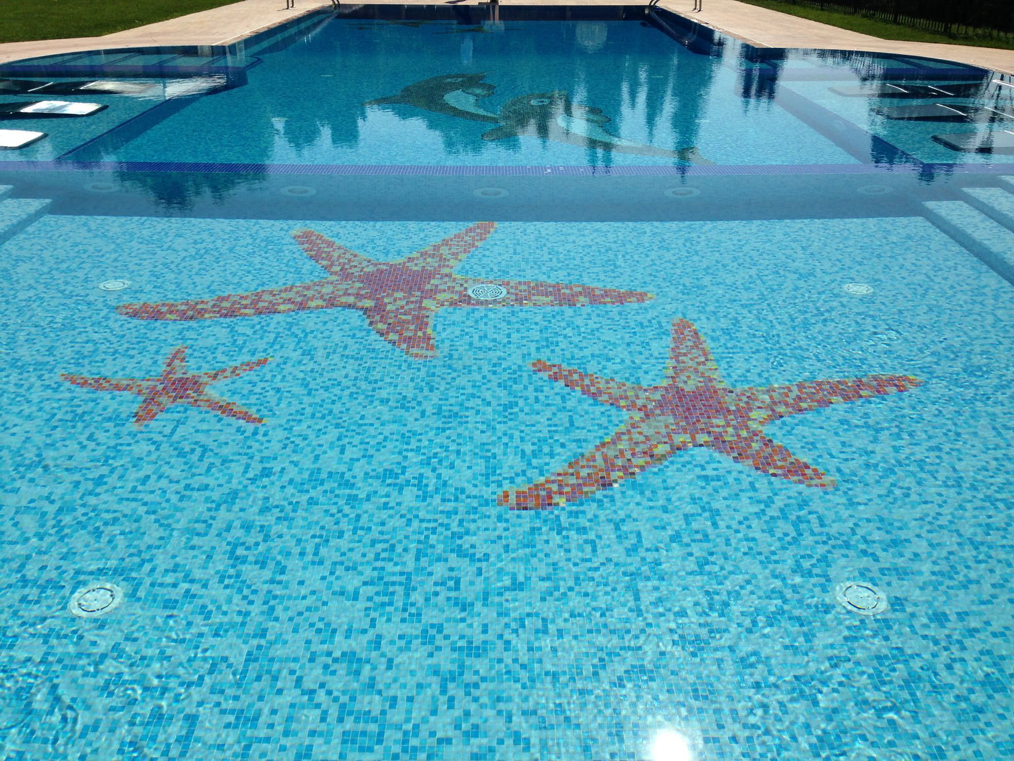 Outdoor mosaic tile / pool / floor / natural stone ...