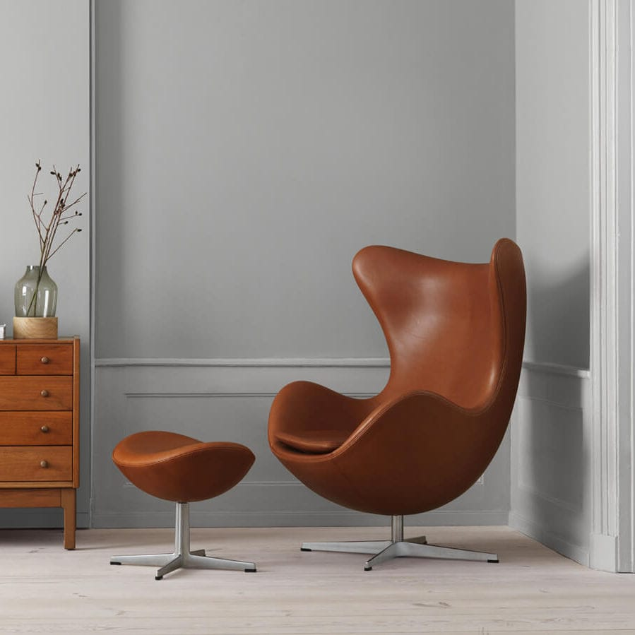Poltrona Design.Scandinavian Design Armchair Fabric Leather With Footrest