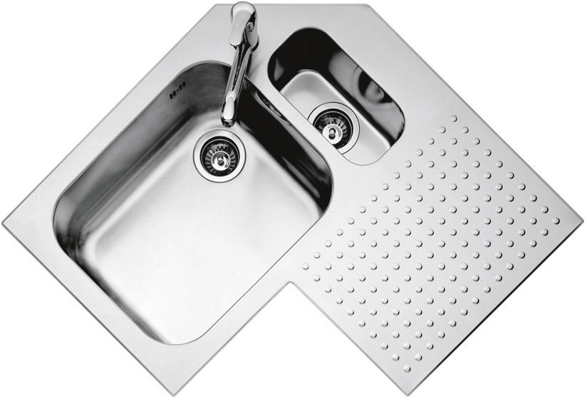 Double Kitchen Sink Stainless Steel Corner With