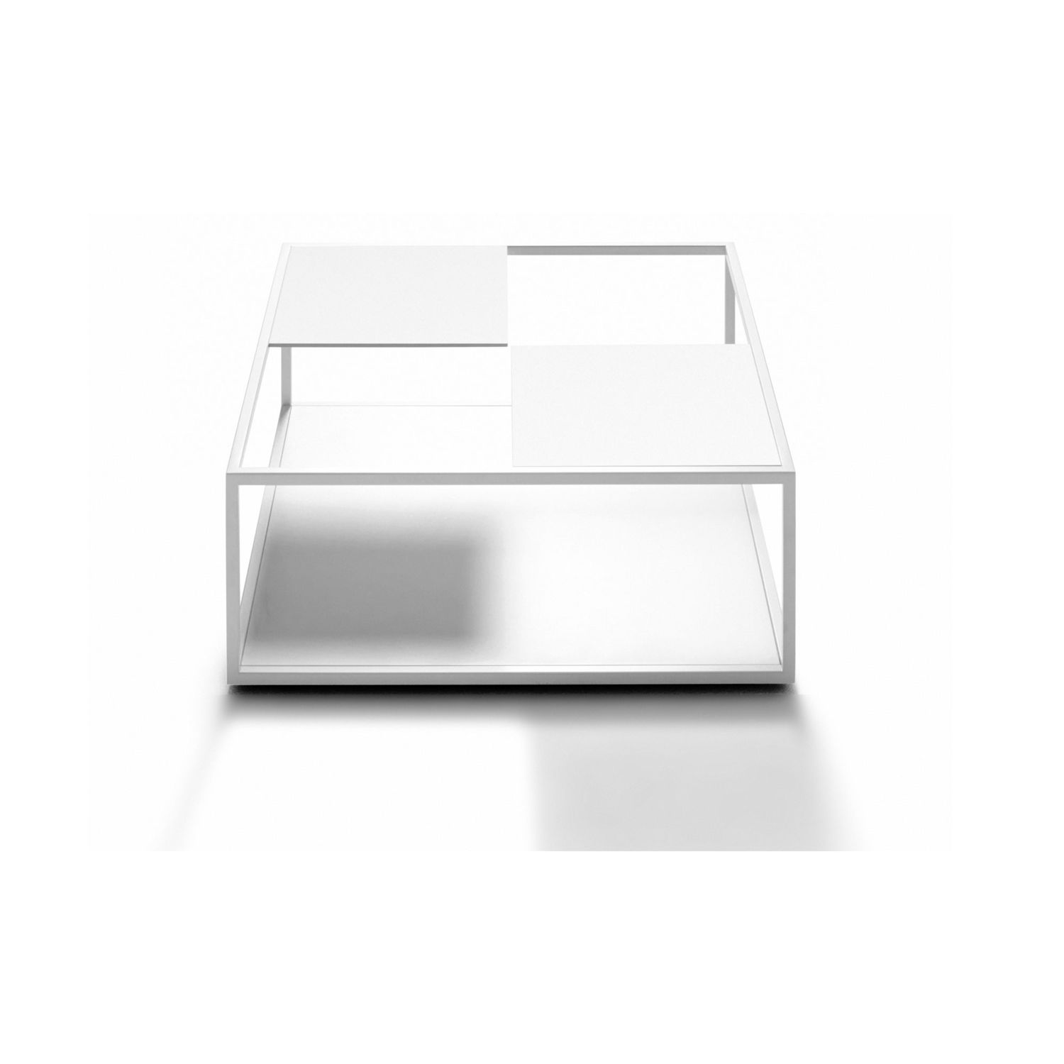 Contemporary Coffee Table Mdf Square With Magazine Rack Tetris By Nendo