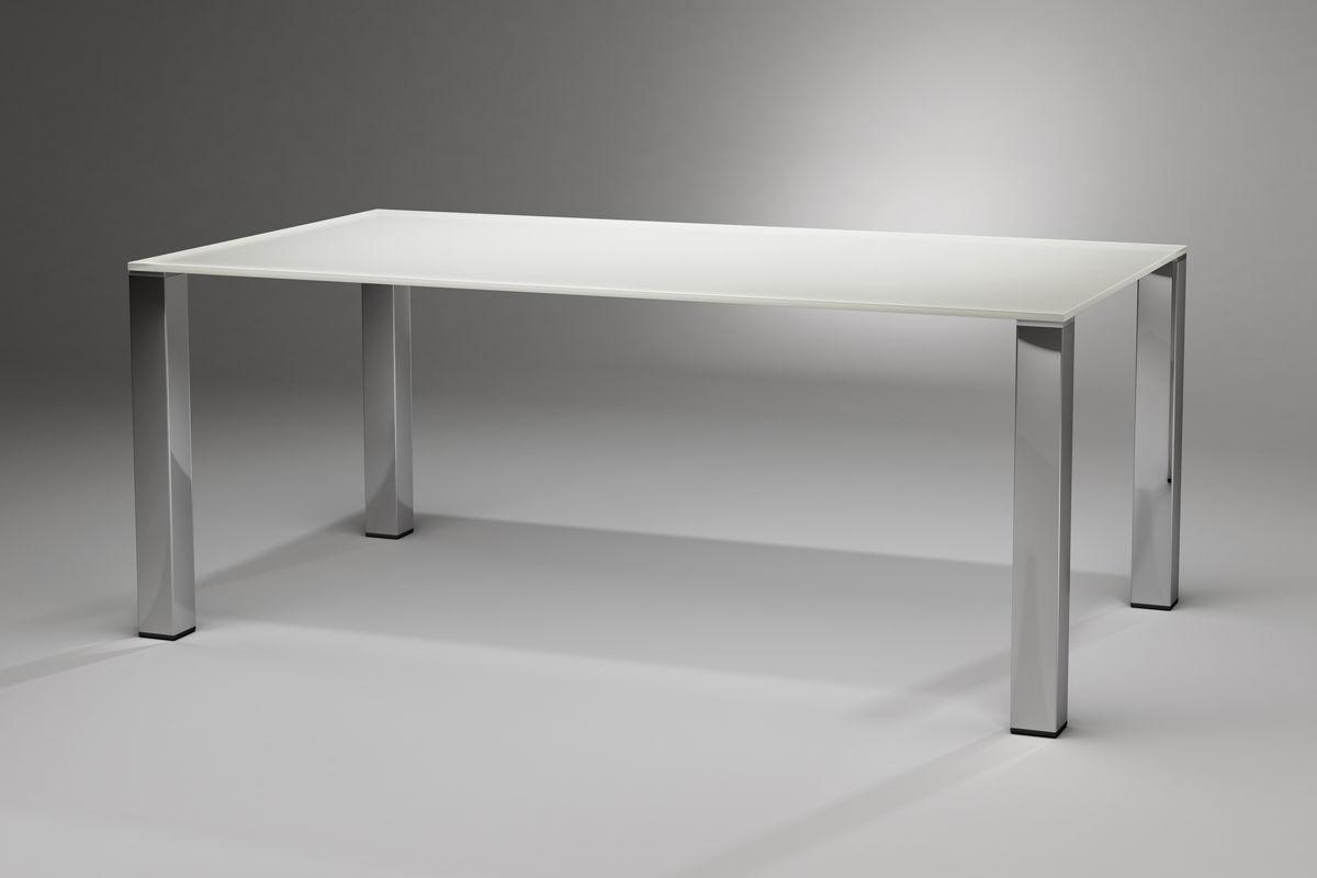 Contemporary Dining Table Quadro Magnum Dreieck Gmbh Glass Stainless Steel Rectangular