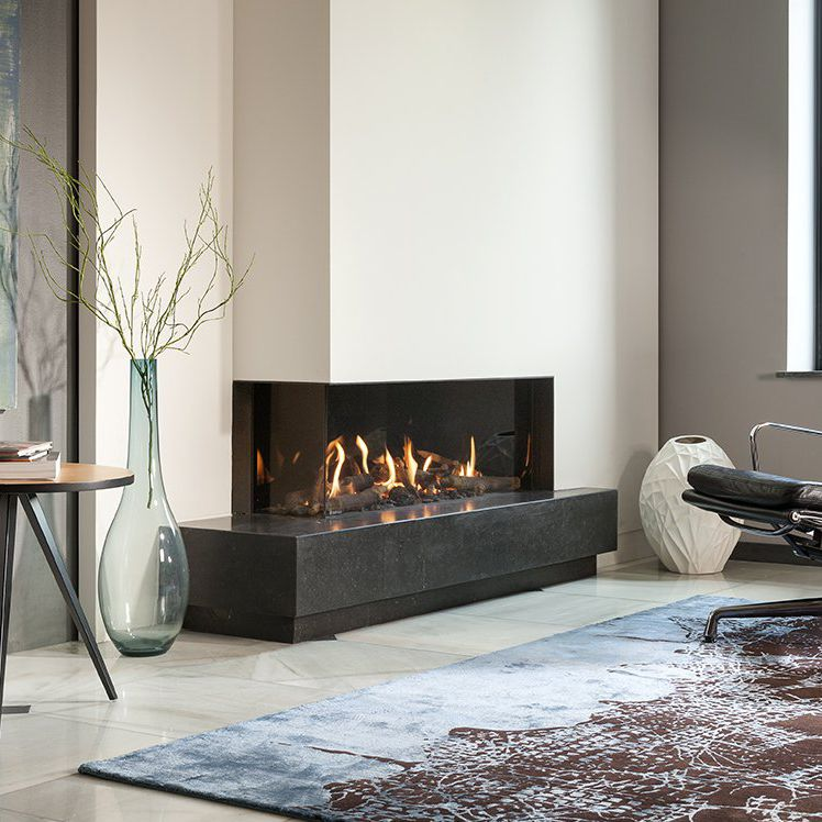 Gas Fireplace Contemporary Closed Hearth 2 Sided G105 37c