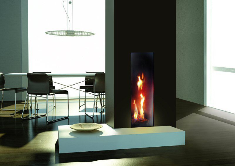 Gas Fireplace Contemporary Closed Double Sided Roma 50