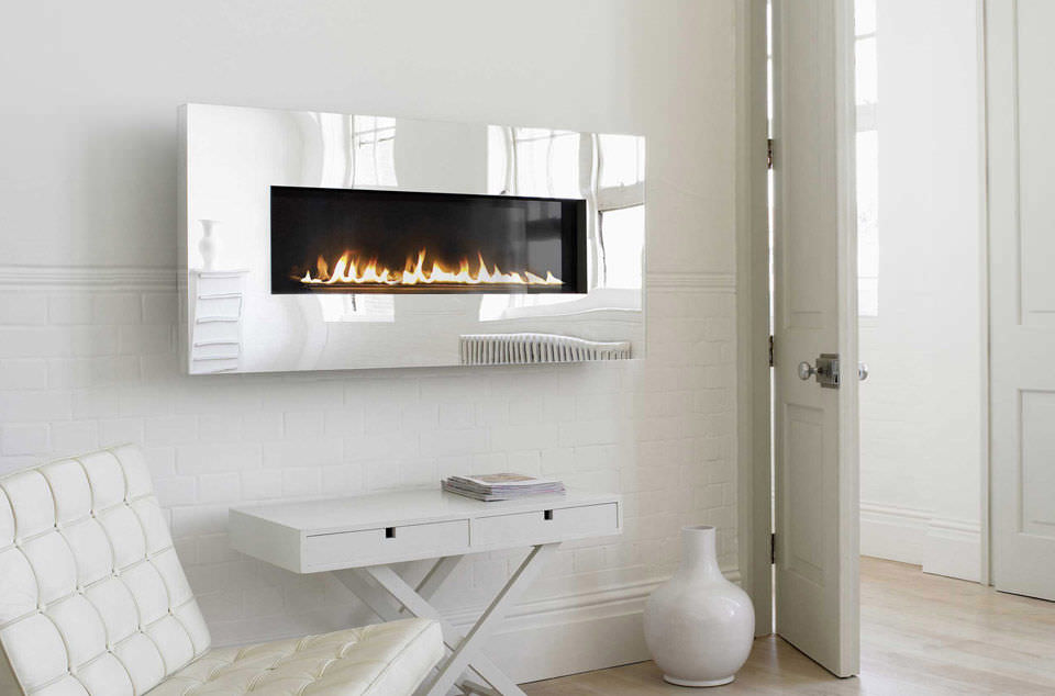 Gas Fireplace Contemporary Closed Hearth Wall Mounted X Fire Widescreen Mirror