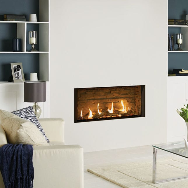 Gas Fireplace Contemporary Open Hearth Wall Mounted