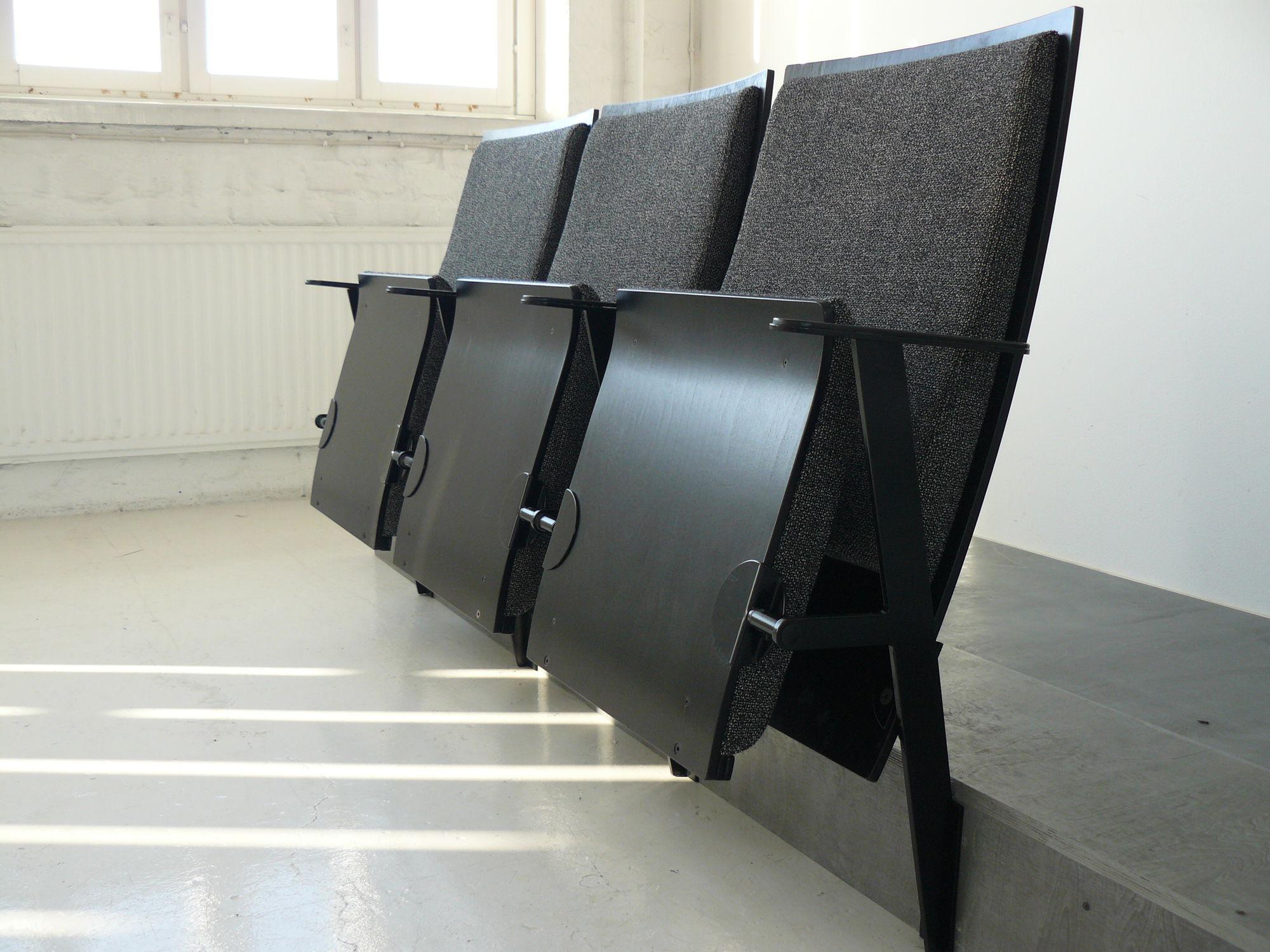 Folding Auditorium Seat With Armrests Fabric Black
