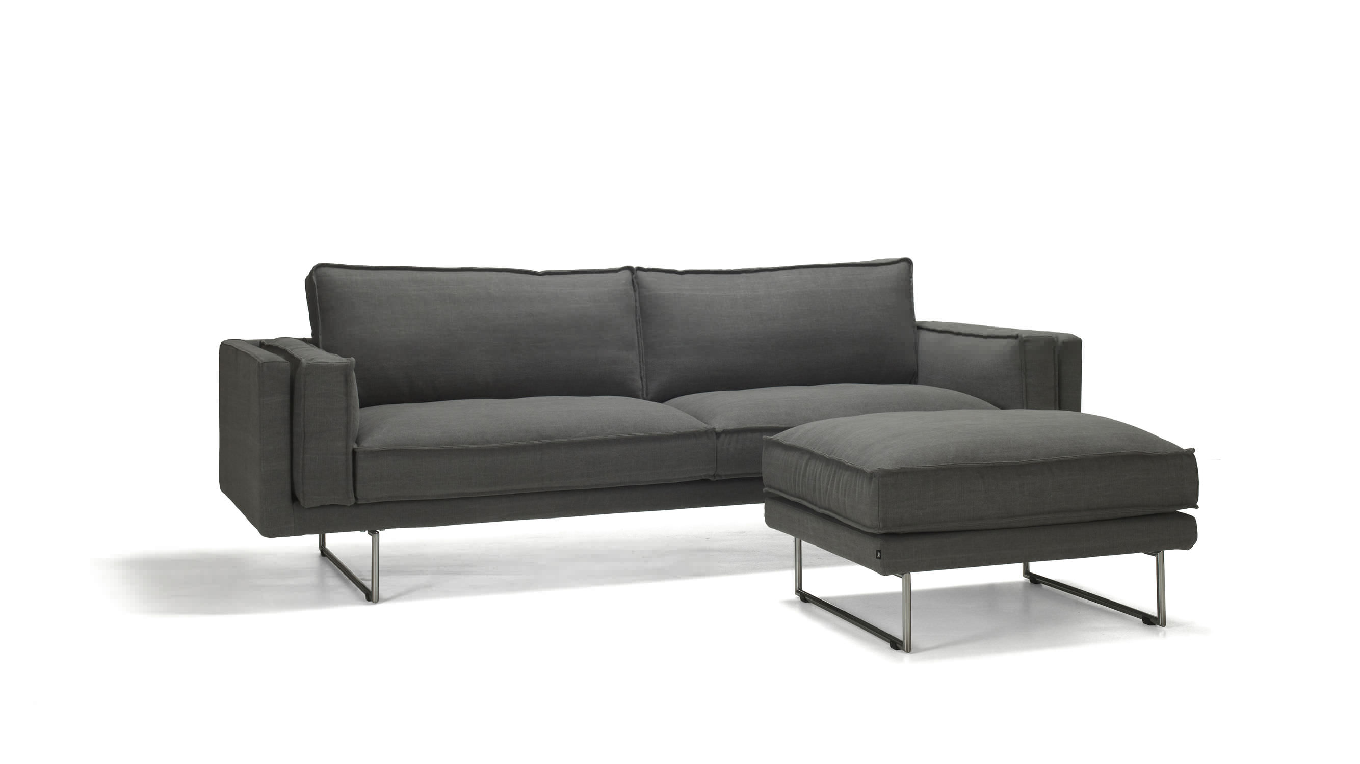 Contemporary Sofa Fabric 3 Seater With Footrest