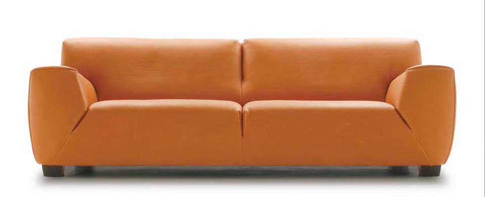 Contemporary Sofa Leather 2 Person