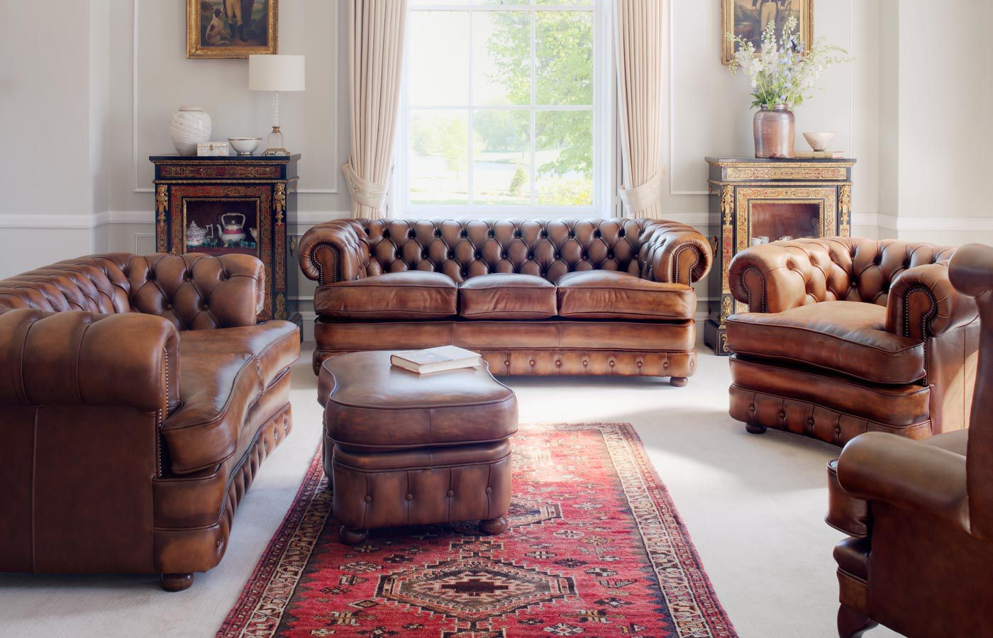 Astonishing Chesterfield Sofa Leather 3 Seater Brown Edward Dailytribune Chair Design For Home Dailytribuneorg