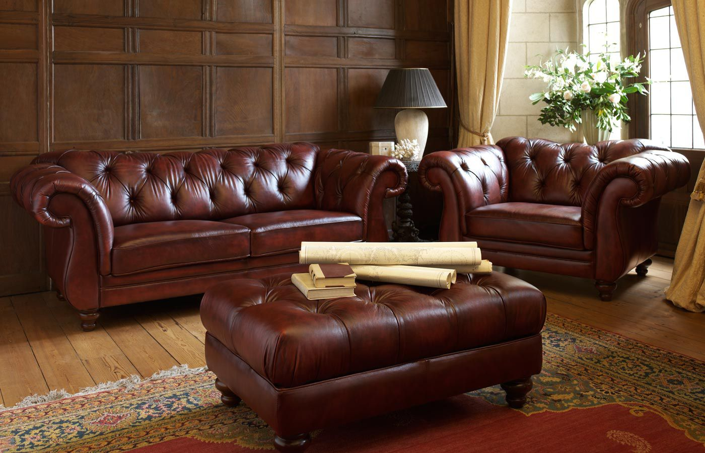 Chesterfield Sofa Leather 2 Person Brown Heathcote
