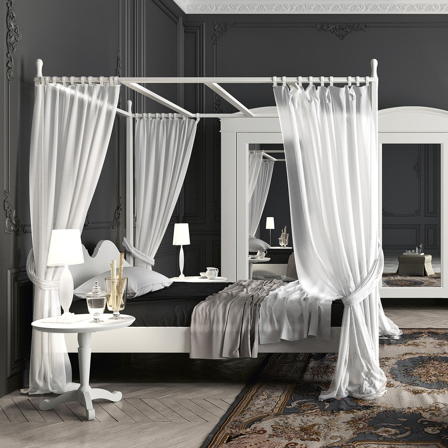 - Canopy Bed - 22 - Minacciolo - Double / Traditional / Wooden