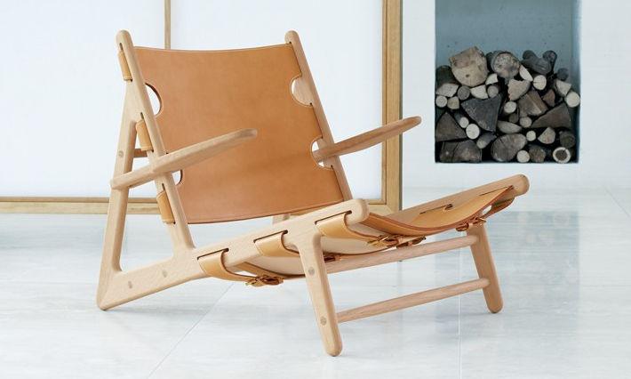 Scandinavian Design Chaise Longue Leather Oak Solid Wood