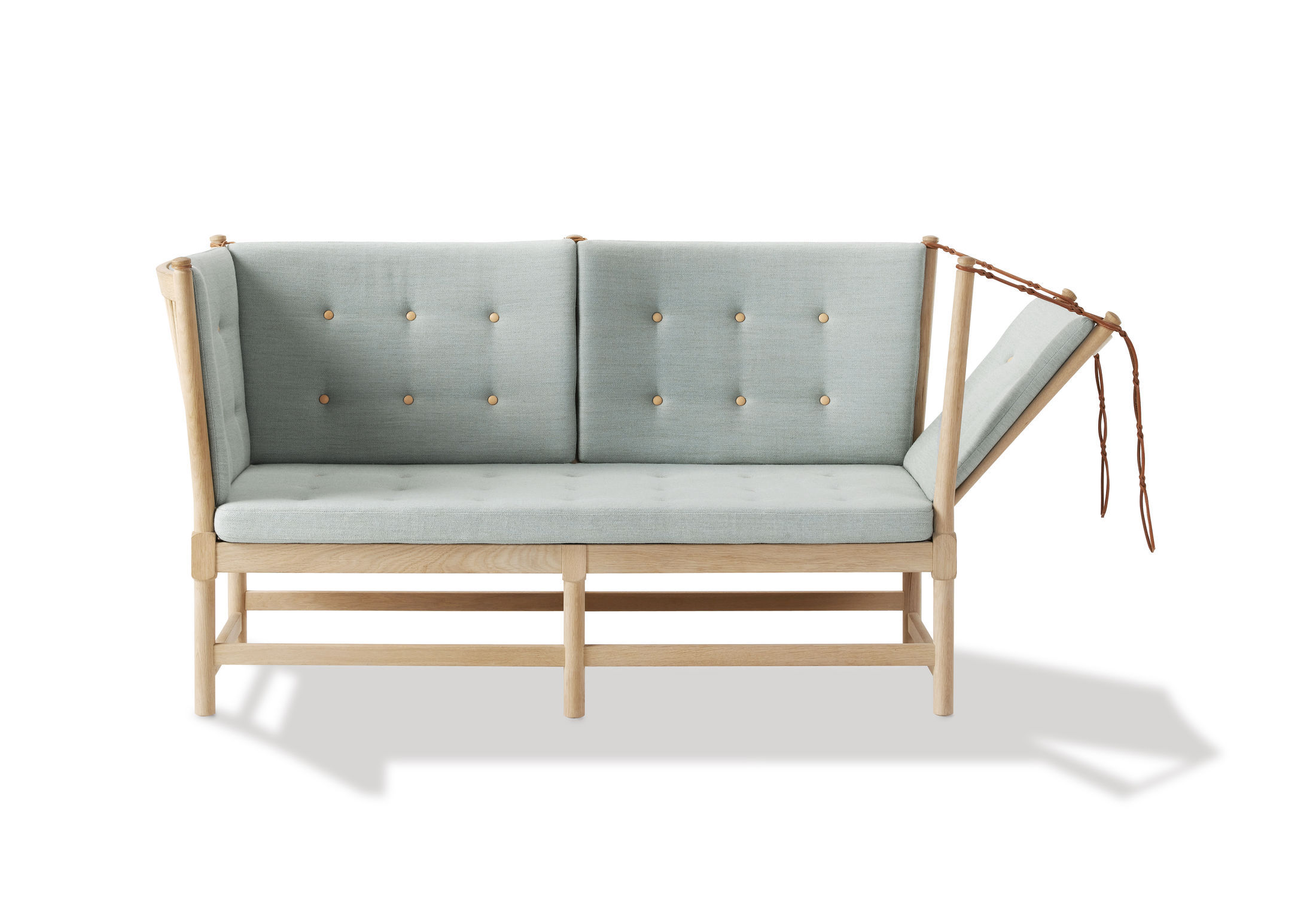 Scandinavian design sofa leather beech oak SPOKE BACK by