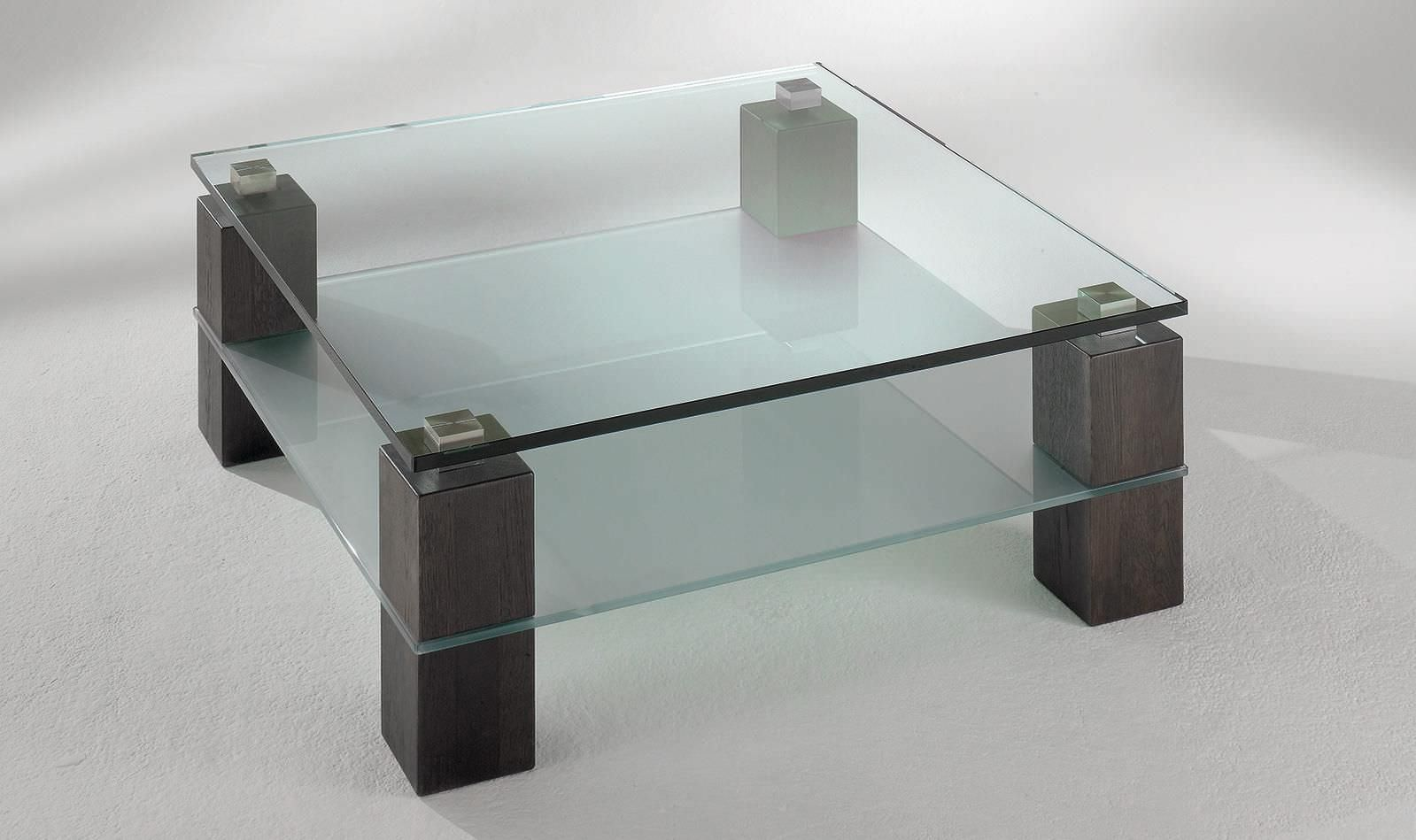 Contemporary Coffee Table Glass Solid Wood Square 4313