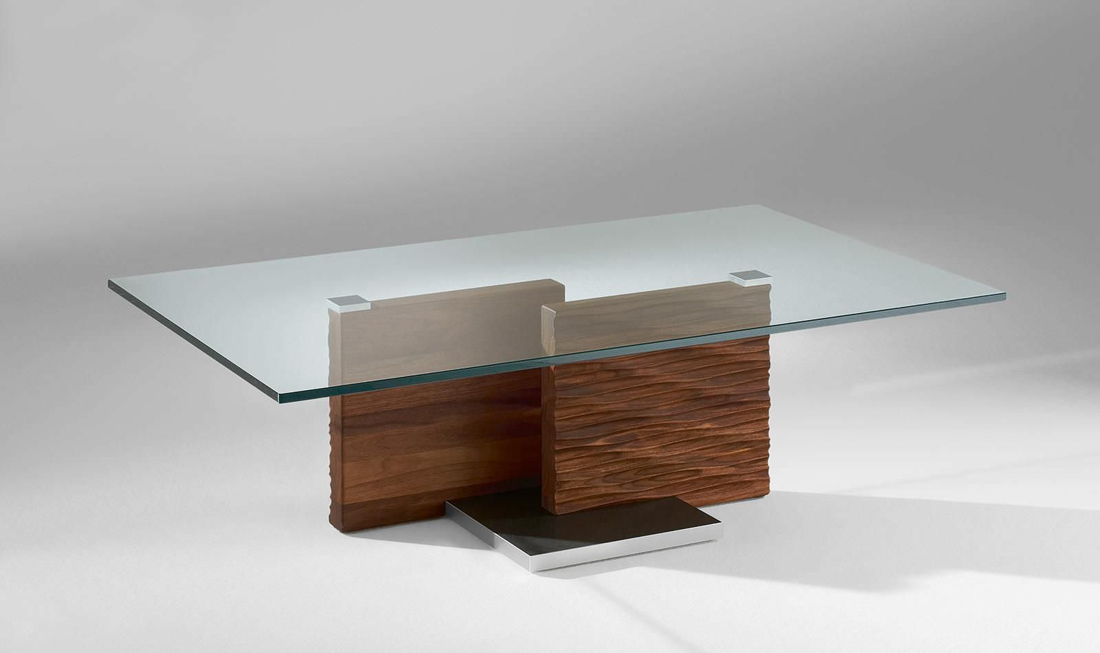 Contemporary Coffee Table Glass Solid Wood Rectangular